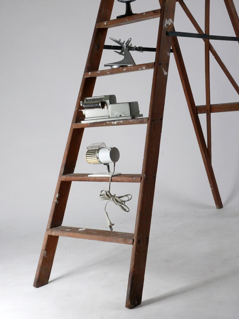 alte leiter holzleiter holz leiter shabby chic bibliotheksleiter mid century ebay. Black Bedroom Furniture Sets. Home Design Ideas