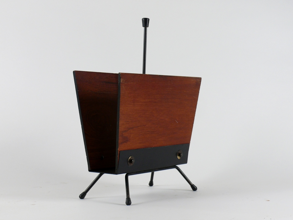 mid century modern paper rack zeitungsst nder teak 50er. Black Bedroom Furniture Sets. Home Design Ideas