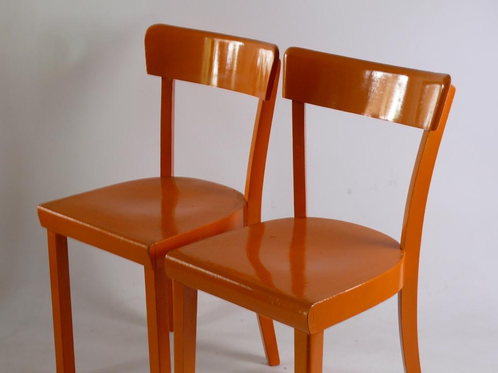 set 2 stuhl frankfurter k che holzstuhl orange ebay. Black Bedroom Furniture Sets. Home Design Ideas